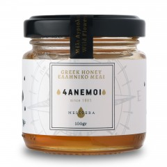 Pot de miel de Grèce Melicera 4Anemoi aux fleurs sauvage, 100g vu de face