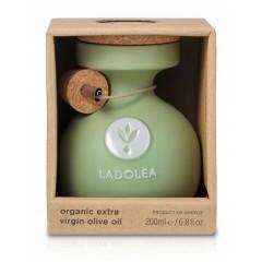 Huile d'olive extra vierge Bio Koroneiki 200ml Ladolea vue de face pot céramique dans son emballage