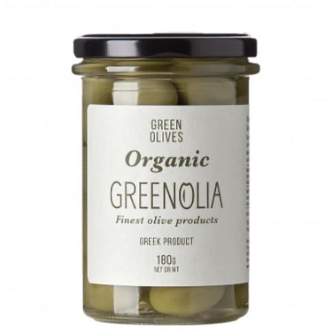 Organic green olives 180gr GREENOLIA front view