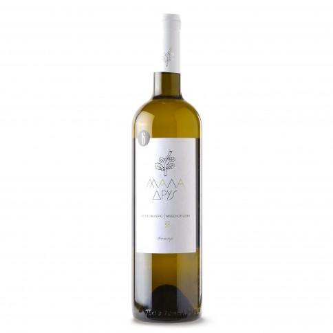 Λευκό κρασί Μοσχοφίλερο Μάλα Δρυς ΠΓΕ 75cl ΔΑΣΑΚΛΗΣ ΟΙΝΟΠΟΙΪΑ, μπροστινή όψη
