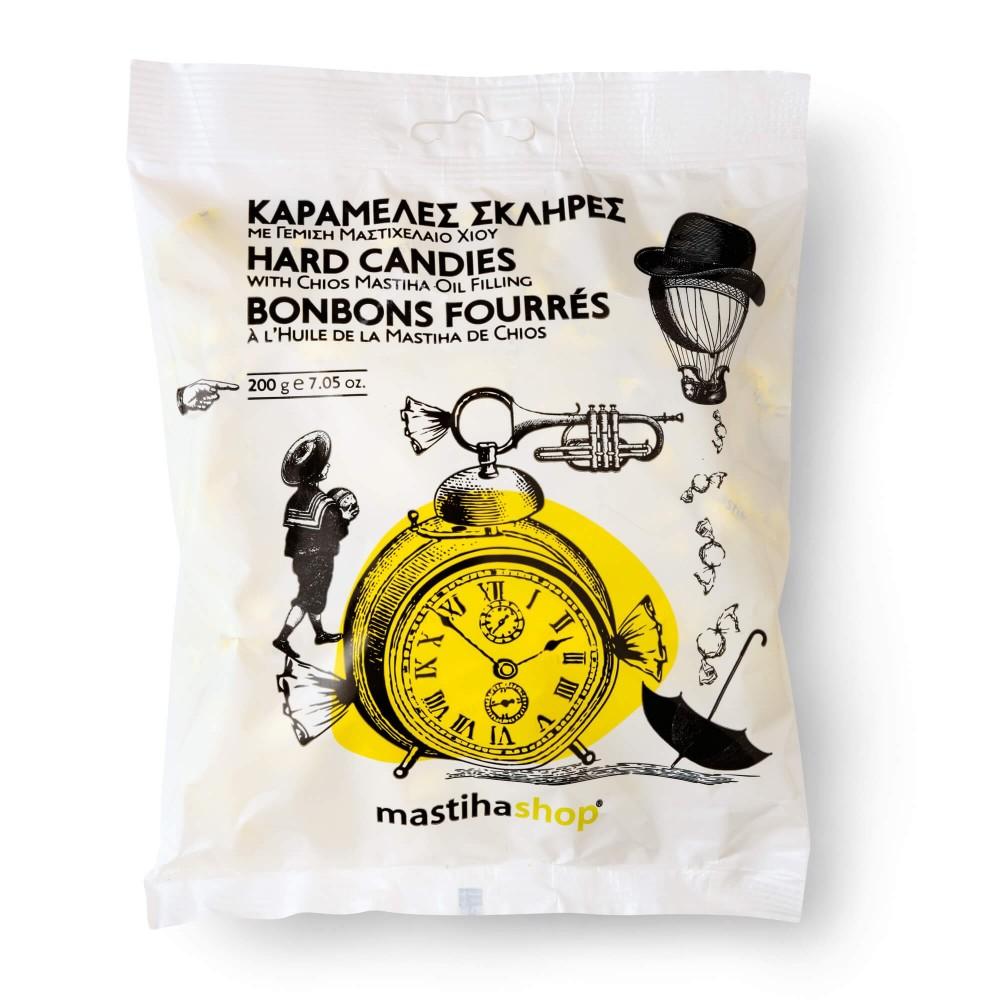 Bonbons fourrés au Mastiha de Chios, vue de face et détail du produit