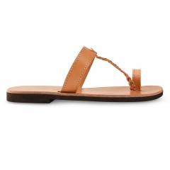 Sandales grecques en cuir Héra, fabriquées à la main en Crète, vue de profil