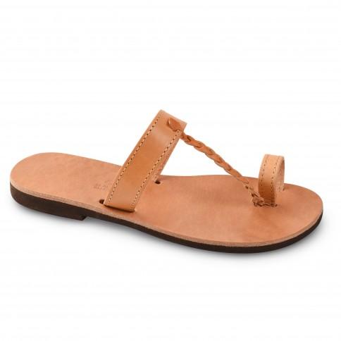 Sandales grecques en cuir Héra, fabriquées à la main en Crète, vue de 3/4