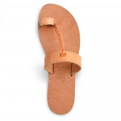 Sandales grecques en cuir Héra, fabriquées à la main en Crète, vue de haut