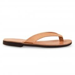 Sandales grecques en cuir Hestia, fabriquées à la main en Crète, vue de profil