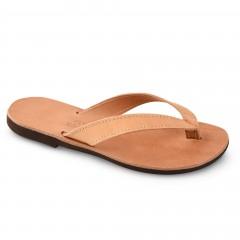 Sandales grecques en cuir Hestia, fabriquées à la main en Crète, vue de 3/4