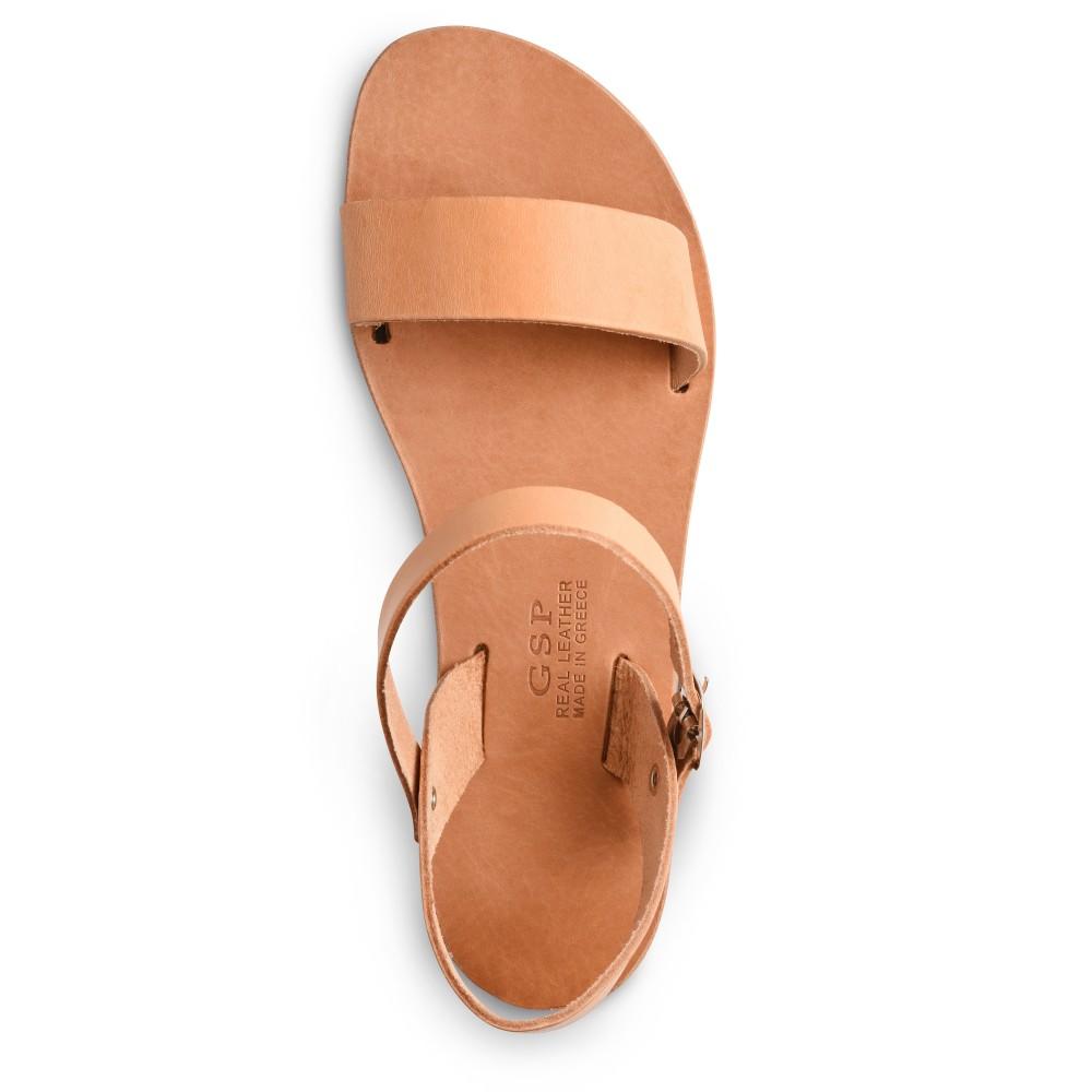 Sandales grecques en cuir Athéna, fabriquées à la main en Crète, vue de dessus