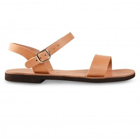 Sandales grecques en cuir Athéna, fabriquées à la main en Crète, vue de profil