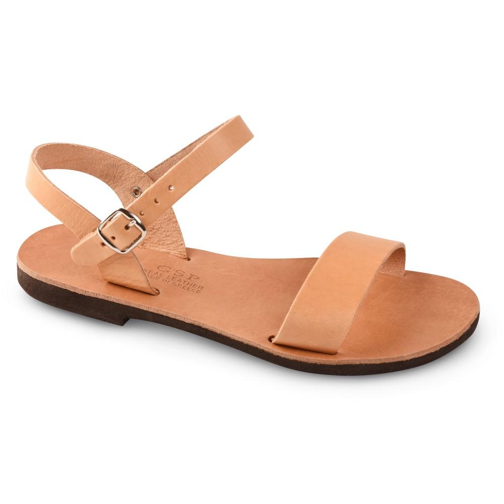 Sandales grecques en cuir Athéna, fabriquées à la main en Crète, vue de 3/4