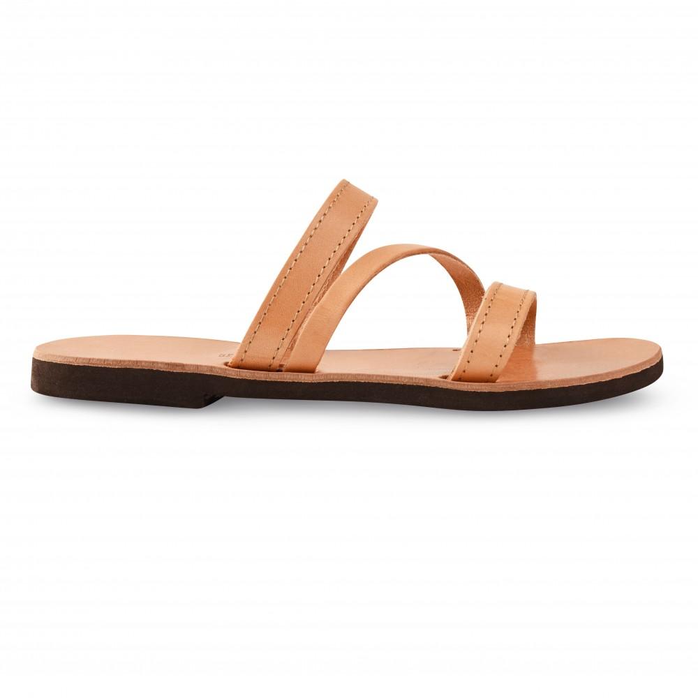 Sandales grecques en cuir Artémis, fabriquées à la main en Crète, vue de profil