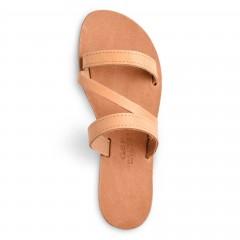 Sandales grecques en cuir Artémis, fabriquées à la main en Crète, vue de dessus