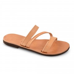 Sandales grecques en cuir Artémis, fabriquées à la main en Crète, vue de 3/4