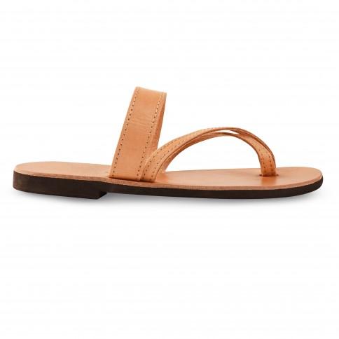 Sandales grecques en cuir Aphrodite, fabriquées à la main en Crète, vue de profil