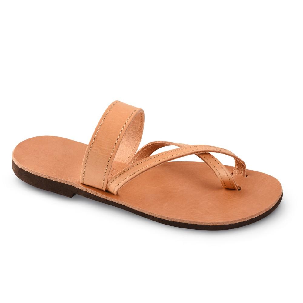 Sandales grecques en cuir Aphrodite, fabriquées à la main en Crète, vue de 3/4