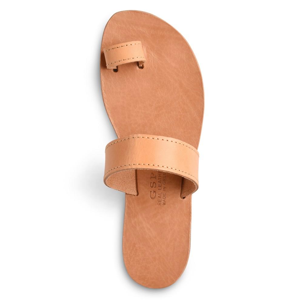 Sandales grecques en cuir Déméter, fabriquées à la main en Crète, vue de dessus
