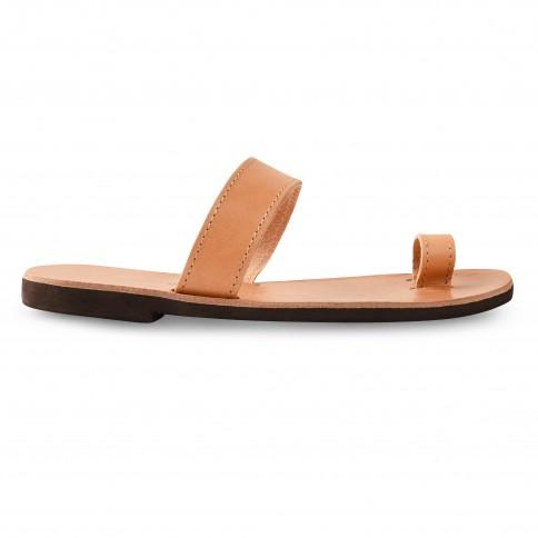 Sandales grecques en cuir Déméter, fabriquées à la main en Crète, vue de profil