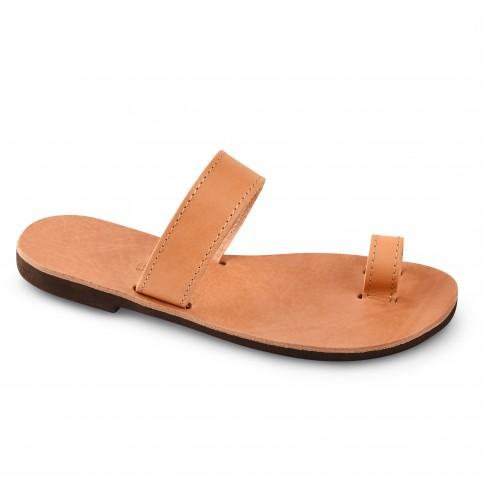 Sandales grecques en cuir Déméter, fabriquées à la main en Crète, vue de 3/4