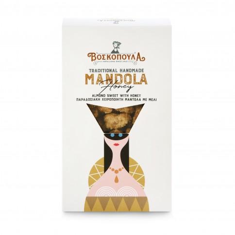 Mandola - amandes caramélisées artisanales grecques au miel 140g Voskopoula, boîte vue de face