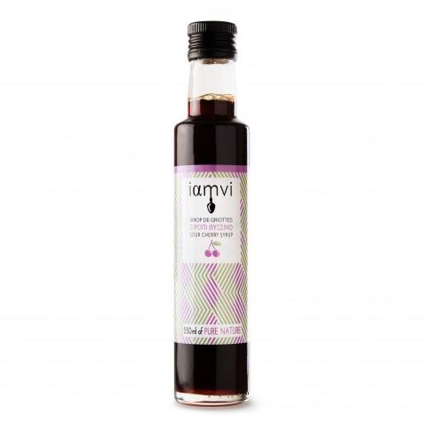 Sirop de griottes grecques Iamvi, bouteille de 250ml vue de face