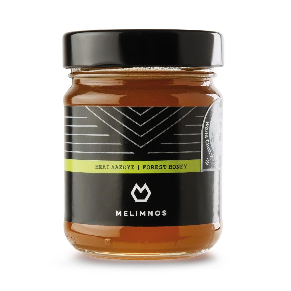 Miel de forêt de l'île de Limnos, en Grèce, pot de 250g, vue de face