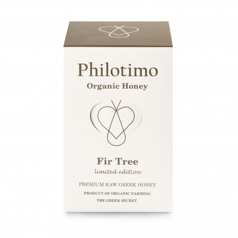 Organic Fir honey of Arcadia 450g Philotimo The Greek Secret jar front view with its packaging