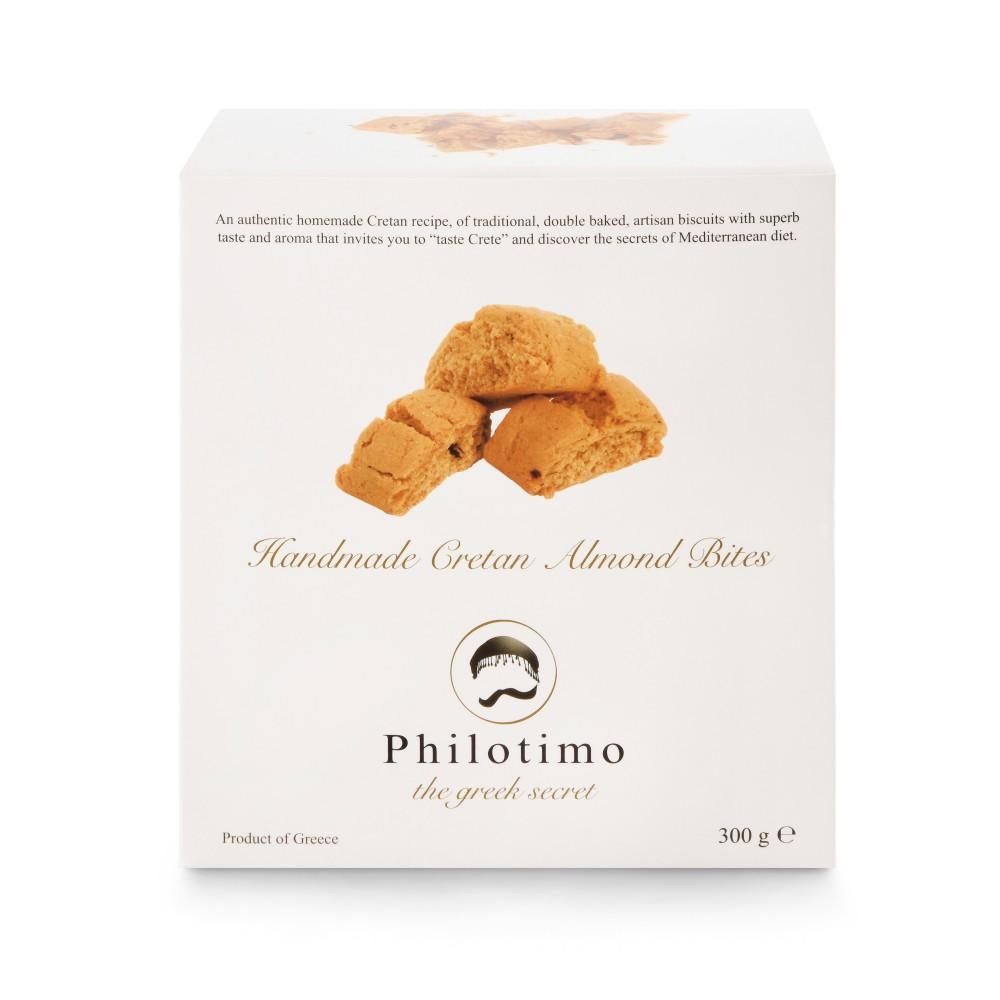 Biscuits aux amandes fait main en Grèce 300g Philotimo boîte vue de face