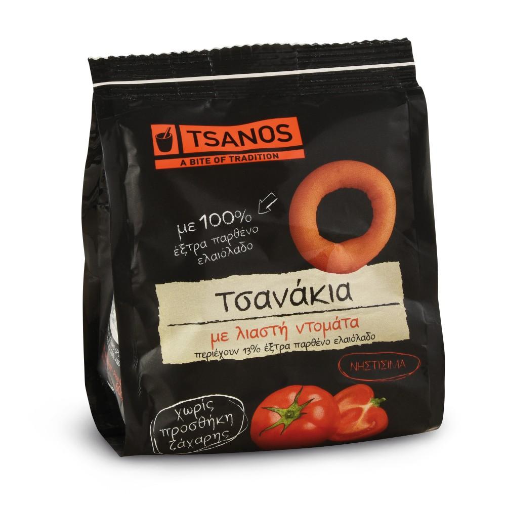 Tsanakia, petits biscuits grecs à la tomate séchée 60g Tsanos, sachet vue de face