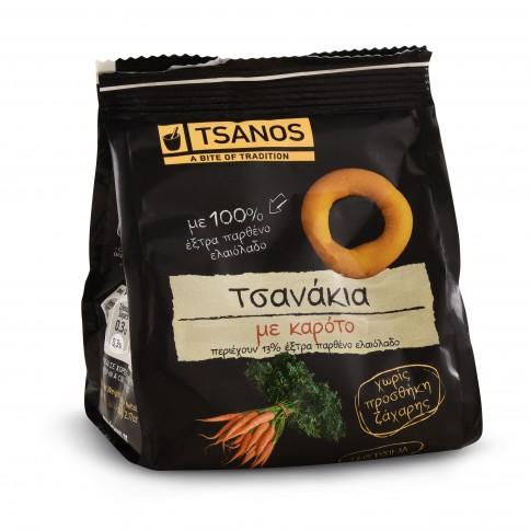 Tsanakia petits biscuits grecs à la carotte 60g Tsanos, sachet, vue de face