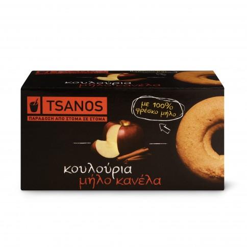 Biscuits grecs à la pomme fraîche et cannelle 100g Tsanos, boîte vue de face
