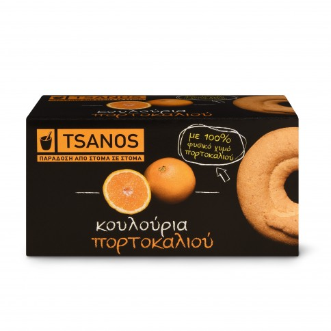 Biscuits grecs à l'orange 100g Tsanos, boîte vue de face