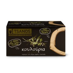 Biscuits grecs aux olives 70g Tsanos, boîte vue de face