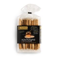 Biscuits grecs au miel et au sésame 300g Tsanos, paquet vu de dessus