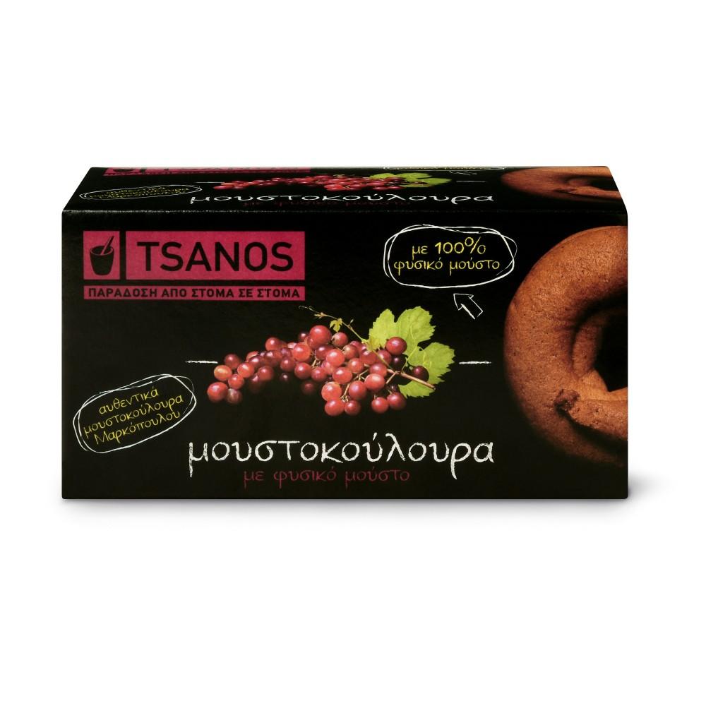 Biscuits grecs moustokouloura au moût de raisin frais 100g Tsanos, boîte vue de face