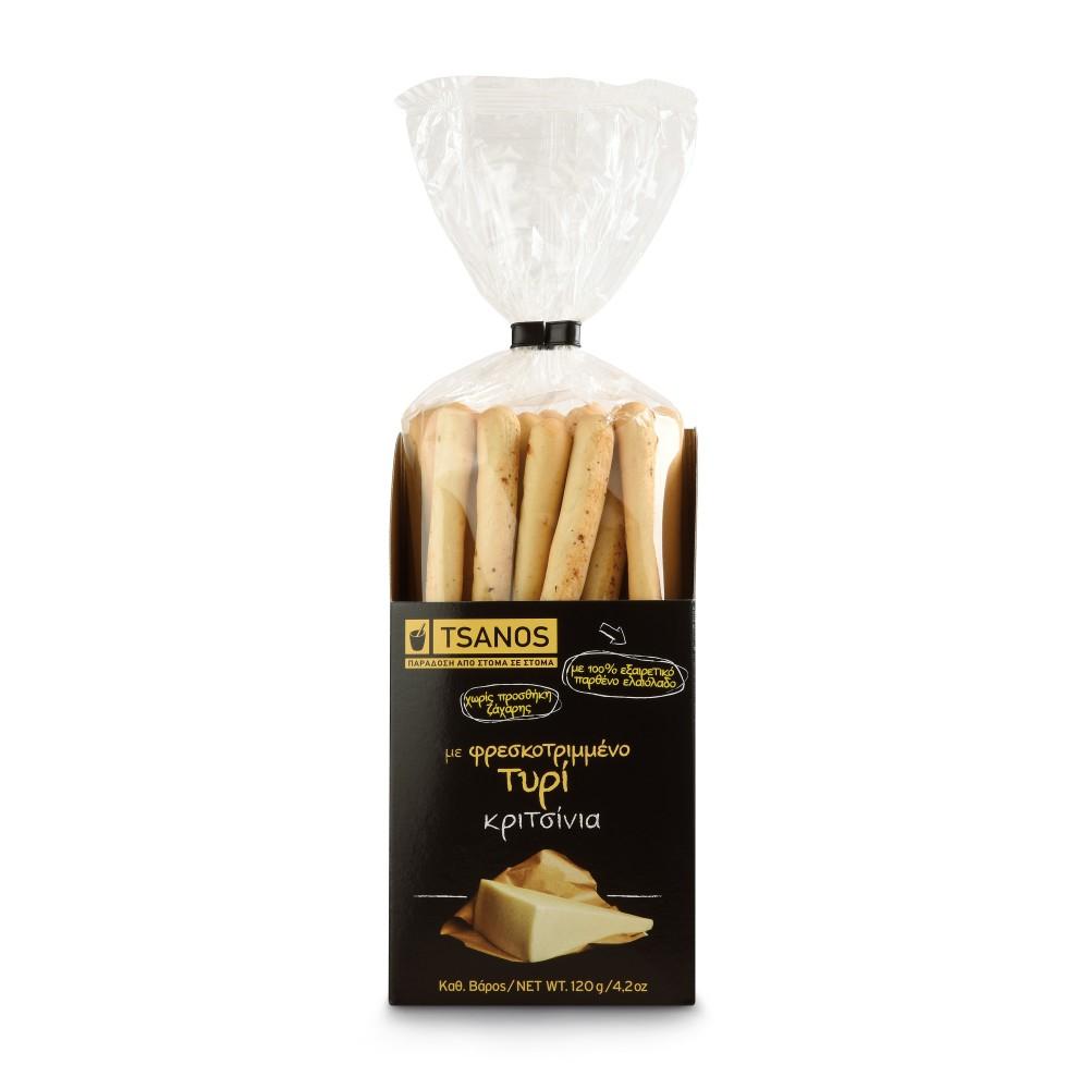 Gressins grecs au fromage frais 230g Tsanos, vue du paquet