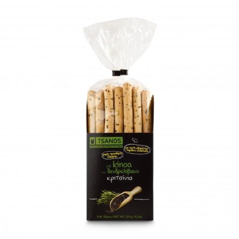 Gressins grecs au quinoa et romarin 130g Tsanos, vue du paquet