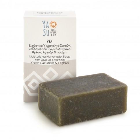 Savon à l'huile d'olive, charbon, concombre et yaourt Yea 120g Ya Su boîte vue de face et savon