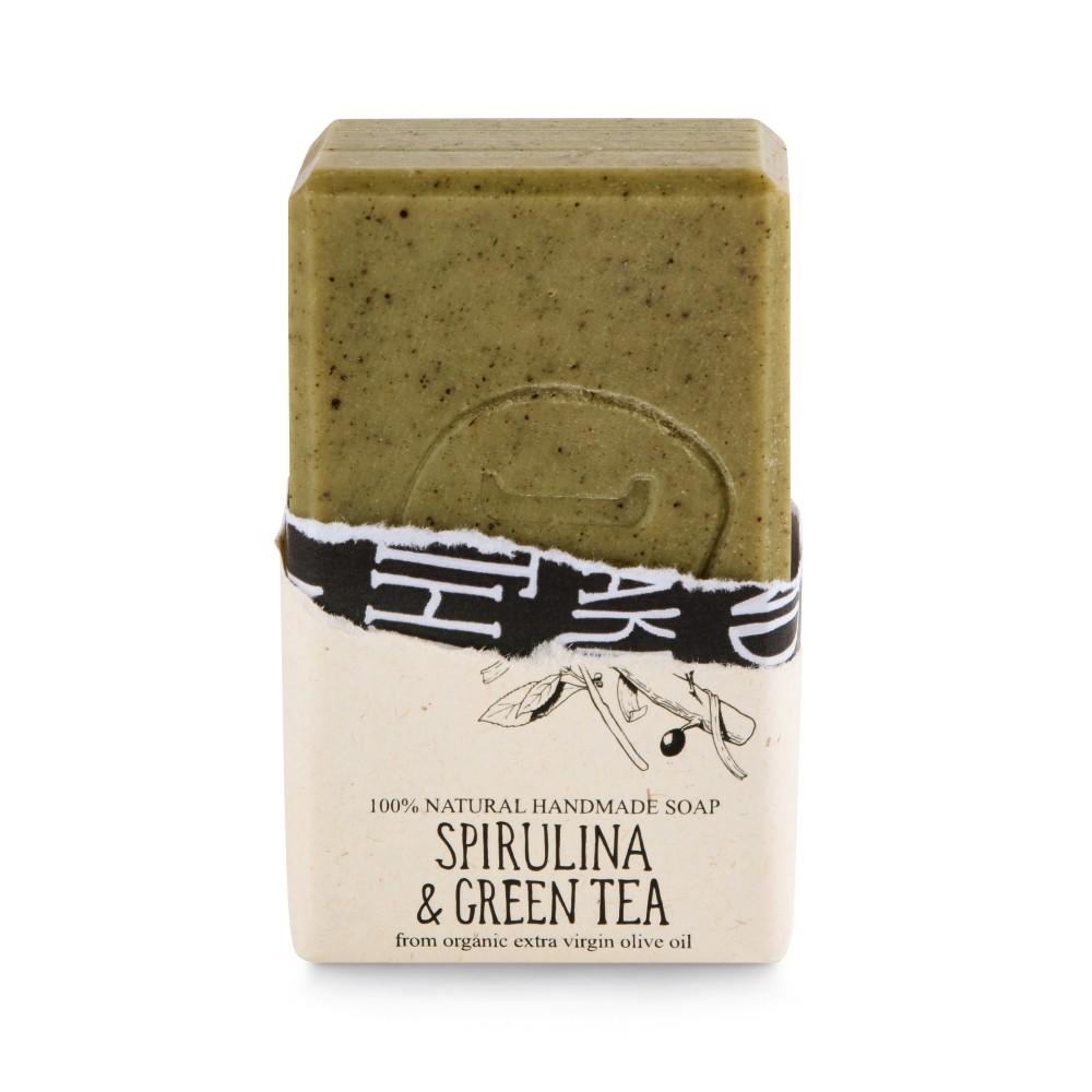 Savon à l'huile d'olive bio, spiruline et thé vert Helleo, vue de face avec savon