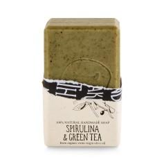 Savon à l'huile d'olive bio, spiruline et thé vert Helleo 120g, vue de face avec savon