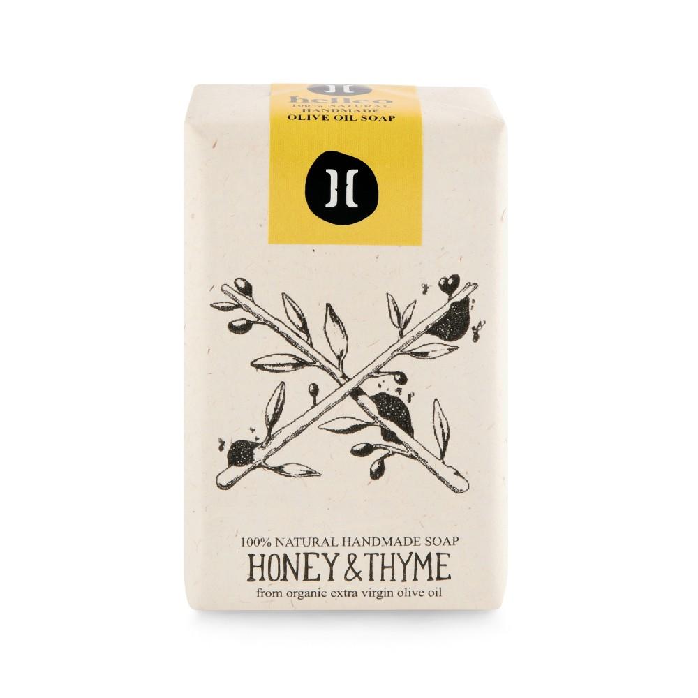 Savon à l'huile d'olive bio, miel et thym Helleo, vue de face