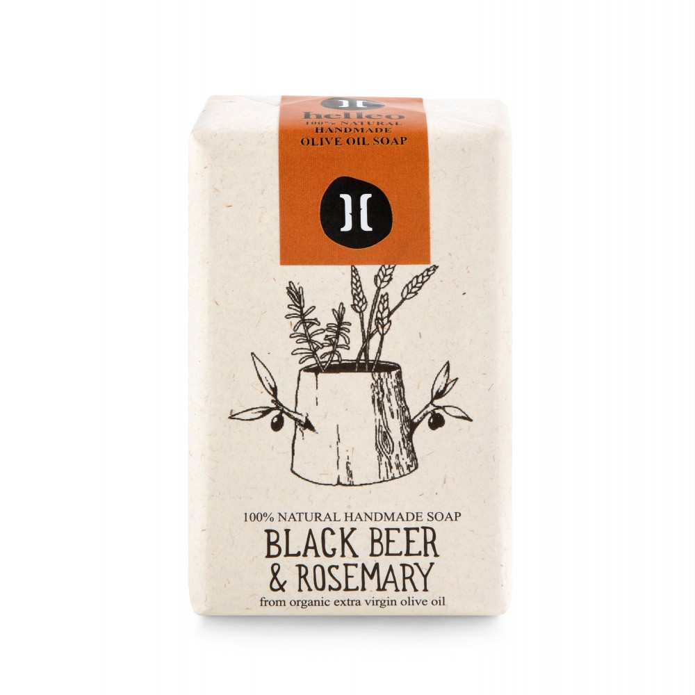 Savon à l'huile d'olive bio, bière noire et romarin Helleo, vue de face