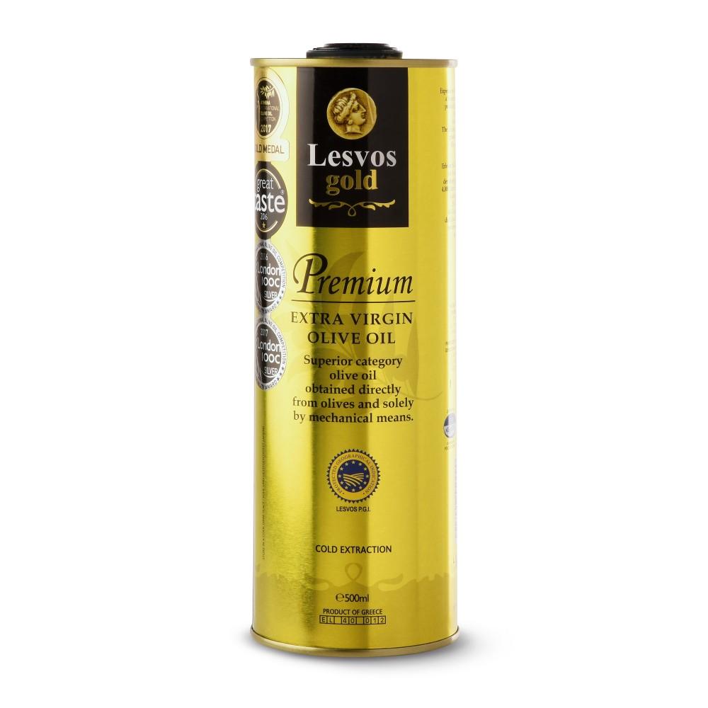 Huile d'Olive Premium Extra Vierge Lesvos Gold en format 500ml, vue de face