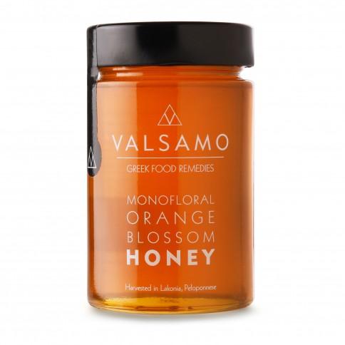 Miel grec à la fleur d'oranger de Lakonia Valsamo, vu de face