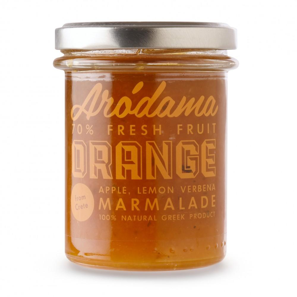 Confiture d'orange de Crète avec des pommes et de la verveine citronelle Arodama - pot de 220g, vue de face
