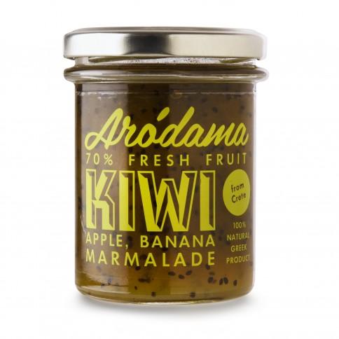 Μαρμελάδα Ακτινίδιο, Μήλο & Μπανάνα 220g Arodama βάζο μπροστινή όψη