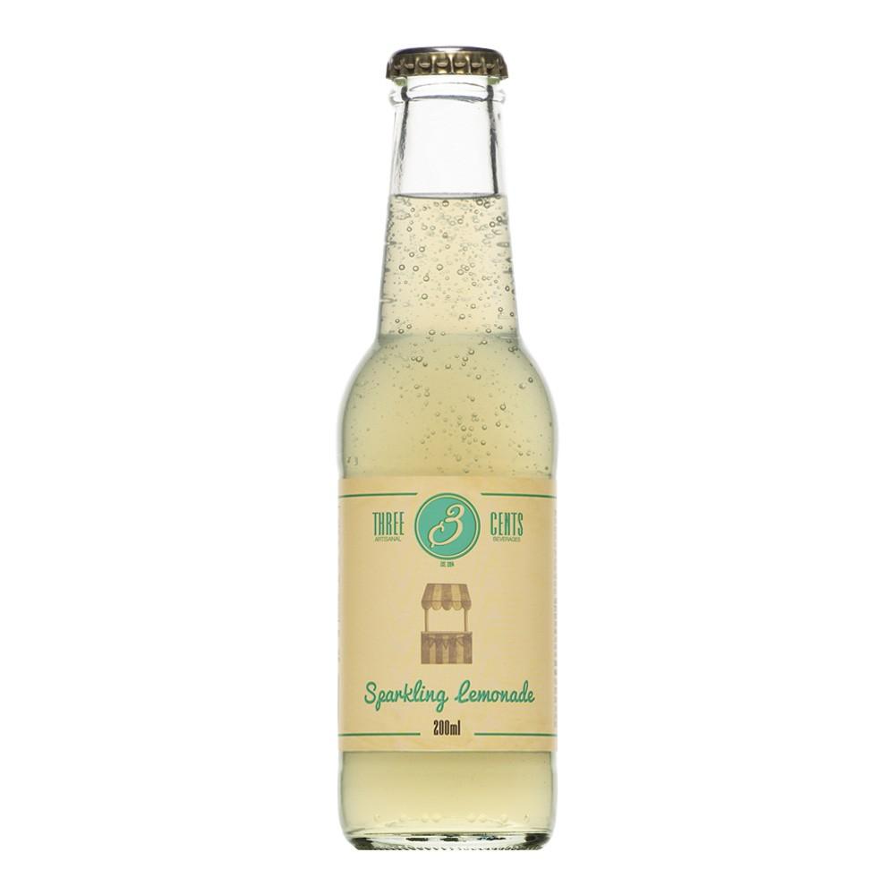 """Bouteille de limonade """"Sparkling Lemonade"""" Three Cents en bouteille de 20 cl, vue de face"""