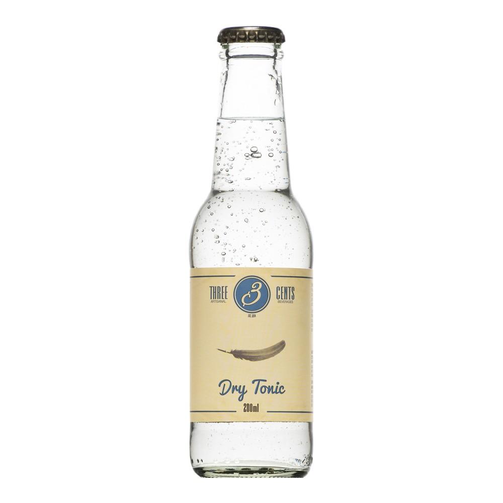 """Tonic artisanal """"dry tonic"""" de Three Cents en bouteille de 20cl, vu de face"""