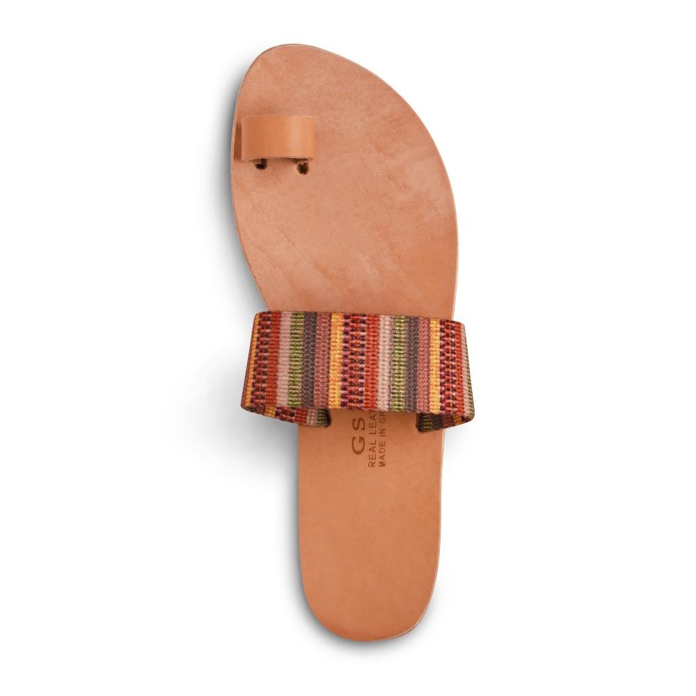 Sandales grecques en cuir et tissu ethnique Ariane, fabriquées à la main en Crète, vue de dessus