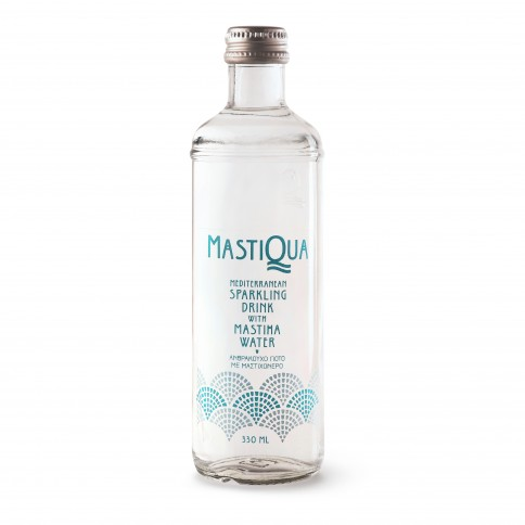 Sparkling water with Mastic 330ml Mastiqua front view