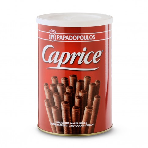 Κουτί μπισκότων γεμάτο με πουράκια φουντουκιού Caprice πρόσοψη, 400γρ
