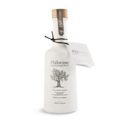 """Huile d'olive extra vierge """"Koroneiki"""" 250ml Philotimo bouteille vue de face avec étiquette"""